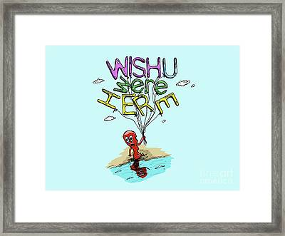 Pink Floyd Wish You Were Here Psychedelic Illustration For Cards Framed Print