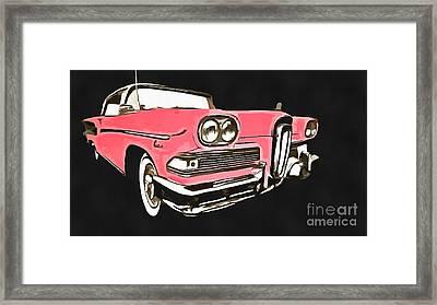 Pink Ford Edsel Painting Framed Print
