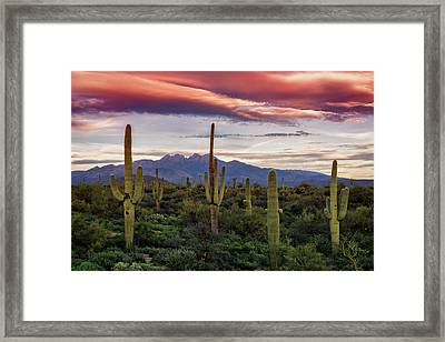 Framed Print featuring the photograph Pink Four Peaks Sunset  by Saija Lehtonen
