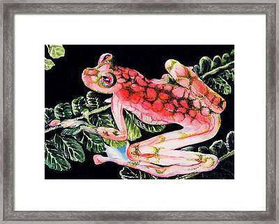 Pink Frog Framed Print by Hye Ja Billie