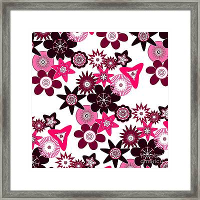 Pink Funky Flowers Framed Print by Methune Hively