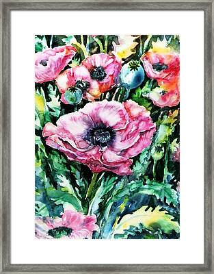 Framed Print featuring the painting Pink Garden Poppies  by Trudi Doyle
