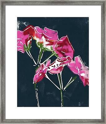 Pink Geraniums- Art By Linda Woods Framed Print by Linda Woods