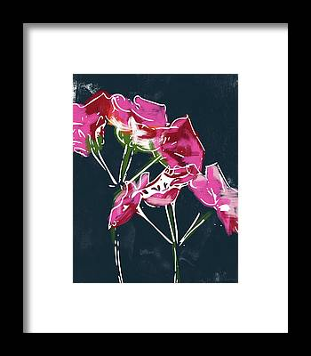 Red Geraniums Framed Prints