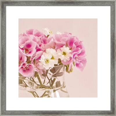 Pink Geraniums Framed Print by Sandra Foster