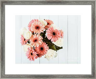 Pink Gerbera Daisy Flowers And White Roses Bouquet Framed Print by Radu Bercan