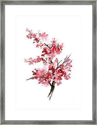 Cherry Blossom, Pink Gifts For Her, Sakura Giclee Fine Art Print, Flower Watercolor Painting Framed Print by Joanna Szmerdt