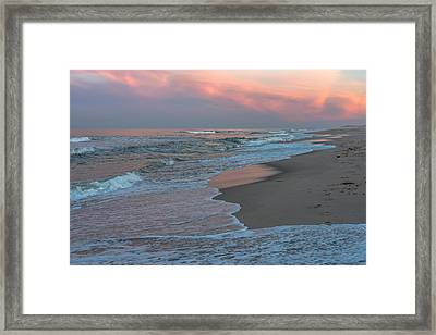 Pink Glow Beach Seaside New Jersey Framed Print by Terry DeLuco
