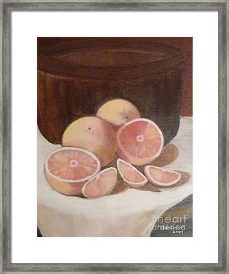 Pink Grapefruit Framed Print by Adrianne  Wagers