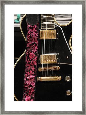 Pink Guitar Strap Framed Print