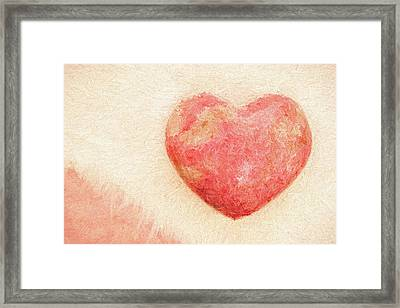 Pink Heart Soft And Painterly Framed Print by Carol Leigh