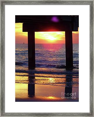 Pink Heart Sun Flare Clearwater Sunset Framed Print by D Hackett