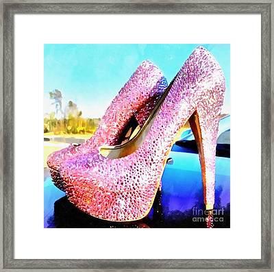 Pink Heels Paint On Paper Framed Print