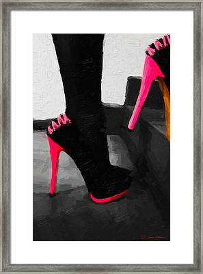 Framed Print featuring the digital art Pink Heels by Serge Averbukh