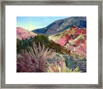 Pink Hills Of Placitas Framed Print by Carla Forrest
