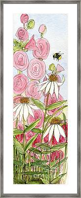 Pink Hollyhock And White Coneflowers Framed Print