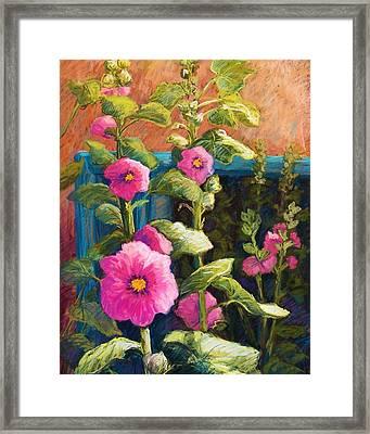 Pink Hollyhocks Framed Print by Candy Mayer
