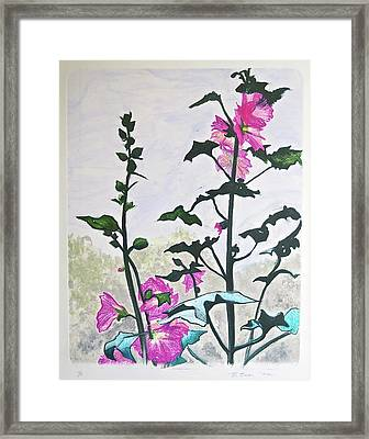 Pink Hollyhocks Monoprint Framed Print