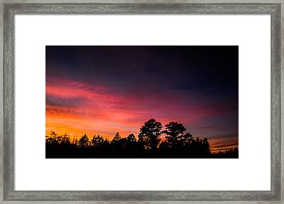 Pink Hues Fill The Sky Framed Print by Shelby Young