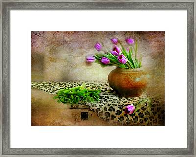 Pink In Clay Pot Framed Print