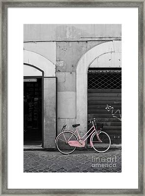 Pink Italian Bike Framed Print by Edward Fielding