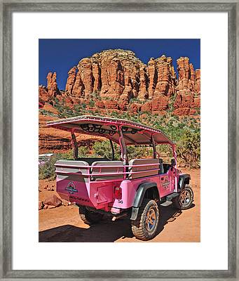 Pink Jeep At Sedona Framed Print by Jack Moskovita