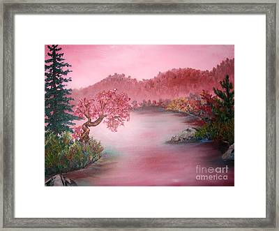 Pink Lake Framed Print by Emily Michaud