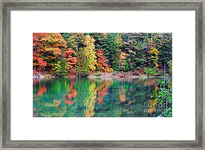 Pink Lake Fall Color Reflections Framed Print