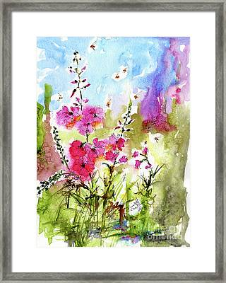 Pink Lavatera Watercolor Painting By Ginette Framed Print