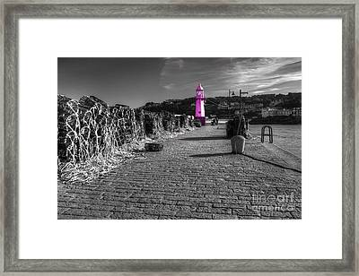 Pink Lighthouse Of St Ives Framed Print by Rob Hawkins