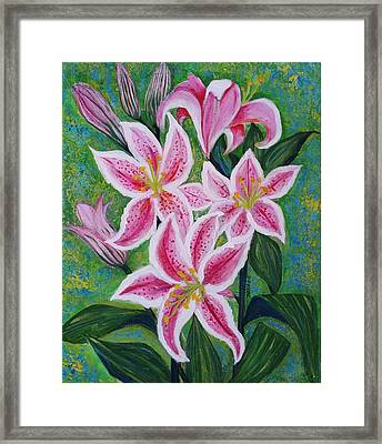 Pink Lilies And Buds As A Delightful Fragrant Gift Framed Print by Jean Fassina