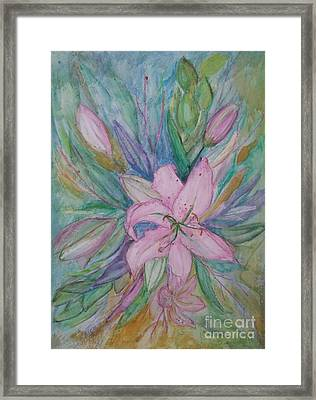Pink Lily- Painting Framed Print by Veronica Rickard