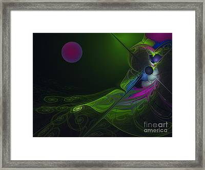 Framed Print featuring the digital art Pink Moon by Karin Kuhlmann