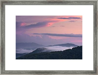 Framed Print featuring the photograph Pink Mountain Sunset by Ken Barrett