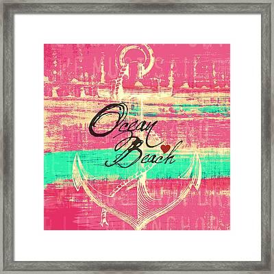 Pink Ocean Beach Anchor Framed Print by Brandi Fitzgerald