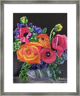Pink On Black Framed Print