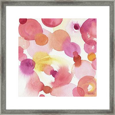 Pink Orange Yellow Abstract Watercolor Framed Print
