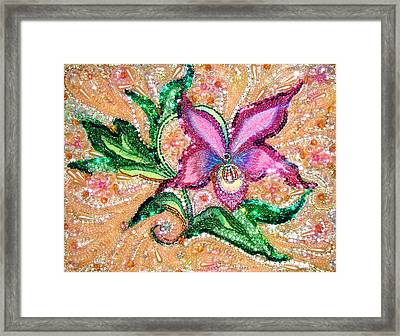Pink Orchid Jeweled Bead Embroidery Framed Print
