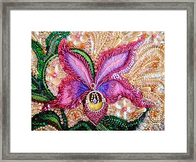 Pink Orchid Fantasy Jeweled Beadwork  Framed Print