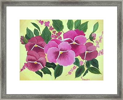 Pink Pansies Sold Framed Print by Ruth  Housley