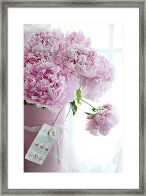 Pink Pastel Peonies In Pink Vase - Shabby Chic Cottage Pink Peonies Wall Art Home Decor Framed Print
