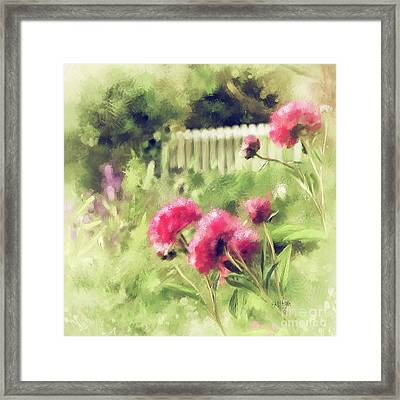 Framed Print featuring the digital art Pink Peonies In A Vintage Garden by Lois Bryan