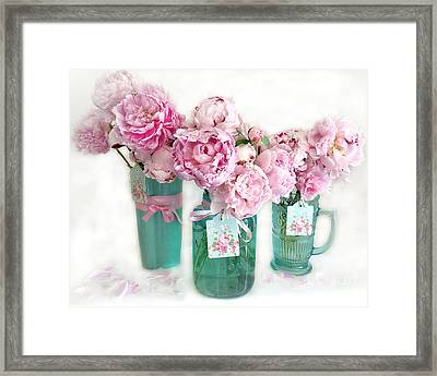 Pink Peonies In Aqua Vases Romantic Watercolor Print - Pink Peony Home Decor Wall Art Framed Print by Kathy Fornal