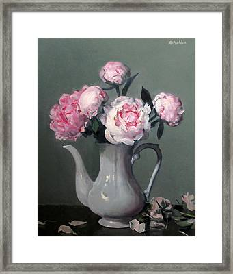 Pink Peonies In White Coffeepot Framed Print