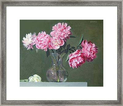 Pink Peonies Walking The Plank Framed Print