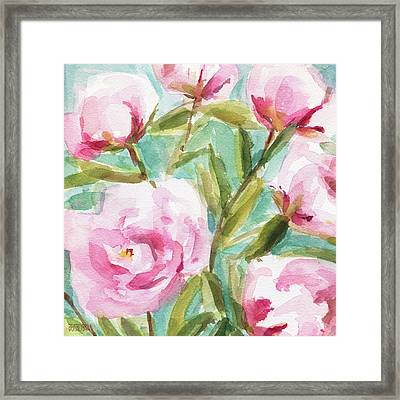 Pink Peony Branches Framed Print