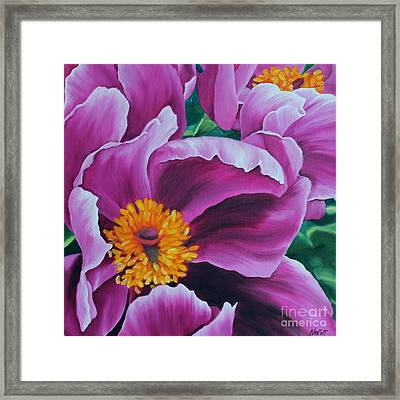 Framed Print featuring the painting Pink Peony by Jindra Noewi