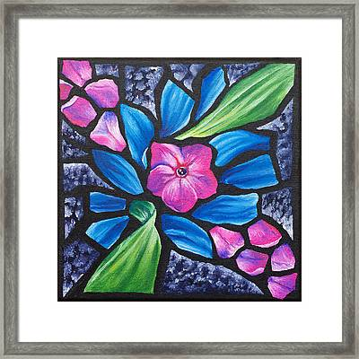 Pink Phlox And Blue Daisy, 2011 Framed Print by Julie Freeney