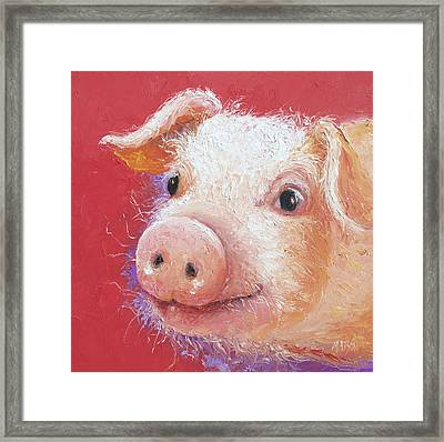 Pink Pig Painting Framed Print by Jan Matson