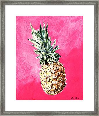 Pink Pineapple Bright Fruit Still Life Healthy Living Yoga Inspiration Tropical Island Kawaii Cute Framed Print by Laura Row
